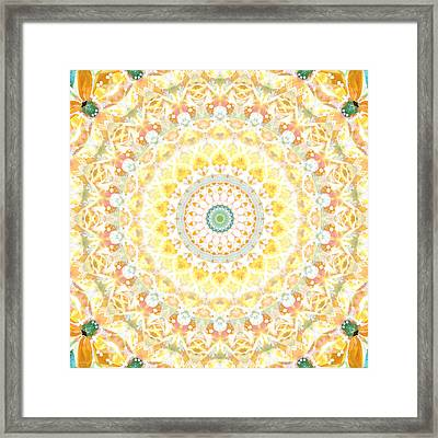 Sunflower Mandala- Abstract Art By Linda Woods Framed Print by Linda Woods