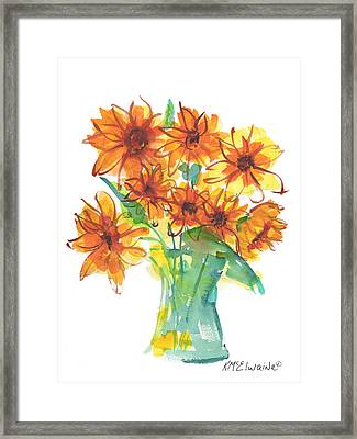 Sunflower Medley II Watercolor Painting By Kmcelwaine Framed Print