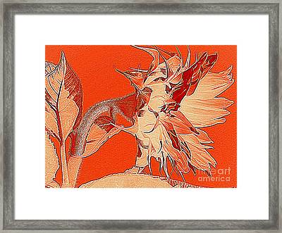 Sunflower - Orange Deco Burst Framed Print by Janine Riley