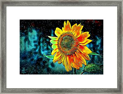 Framed Print featuring the digital art Sunflower Rain by Pennie McCracken