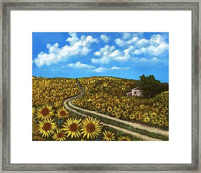 Sunflower Road Framed Print by Anastasiya Malakhova