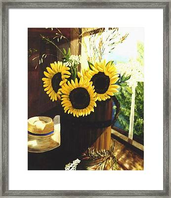 Framed Print featuring the painting Sunflower Sill by Renate Nadi Wesley