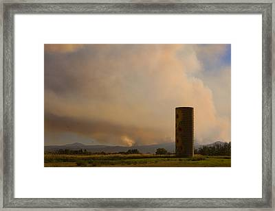 Sunflower Silo With The Four Mile Canyon Fire  Framed Print by James BO  Insogna