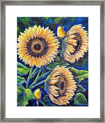 Sunflower Supper Framed Print by Gail Butler