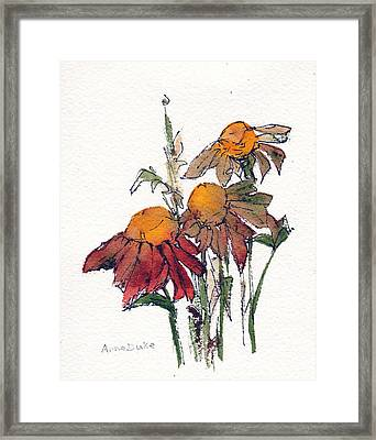 Framed Print featuring the painting Sunflower Trio #1 by Anne Duke