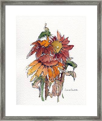 Framed Print featuring the painting Sunflower Trio #2 by Anne Duke