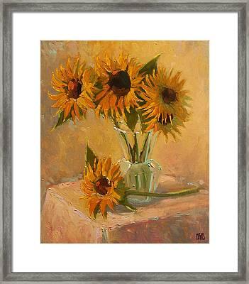 Sunflower Vase In A Sunny Room Framed Print by Robert Lewis