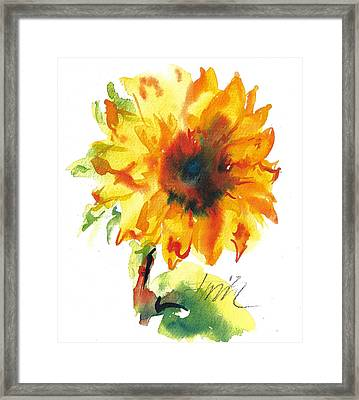 Sunflower With Blues Framed Print