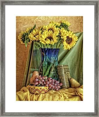 Sunflowers And Blue Vase Framed Print