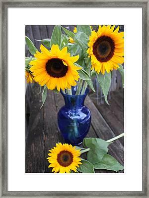 Sunflowers And Blue Vase - Still Life Framed Print