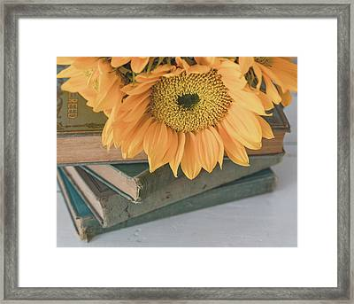 Framed Print featuring the photograph Sunflowers And Books by Kim Hojnacki