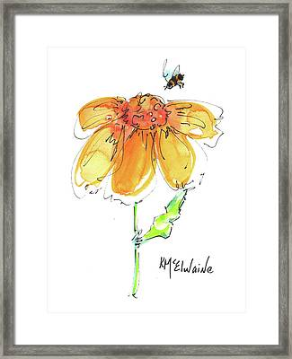 Sunflowers And Bumbles Bees All And All Framed Print