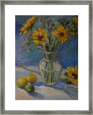 Sunflowers And Citrus Framed Print