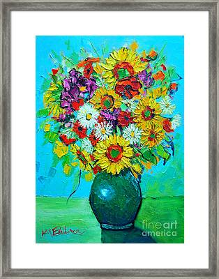 Sunflowers And Daises Framed Print by Ana Maria Edulescu