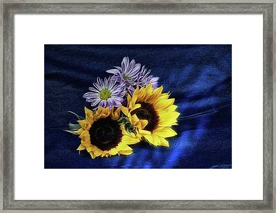 Sunflowers And Daisies Framed Print by Tom Mc Nemar
