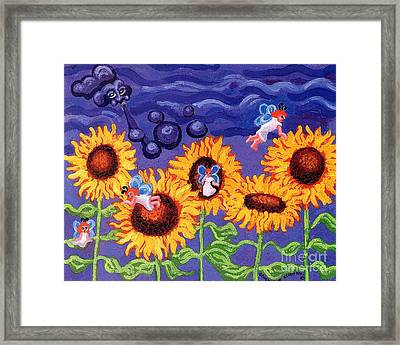 Sunflowers And Faeries Framed Print by Genevieve Esson