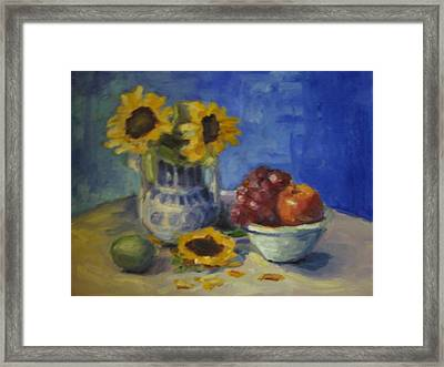 Sunflowers And Fruit Framed Print