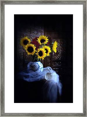 Framed Print featuring the photograph Sunflowers And Globe by Linda Olsen