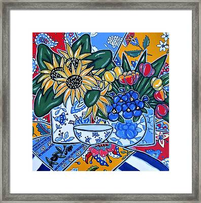 Sunflowers And Pansies Framed Print by Brooke Baxter Howie