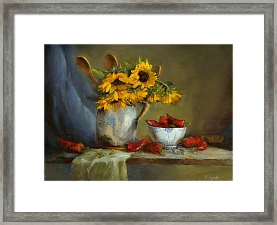 Sunflowers And Paprika Framed Print