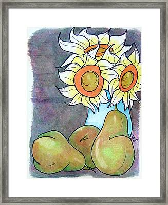 Sunflowers And Pears Framed Print by Loretta Nash
