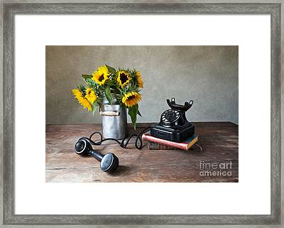 Sunflowers And Phone Framed Print