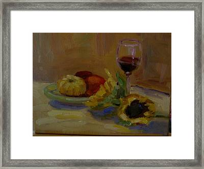 Sunflowers And Wine Framed Print