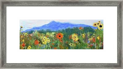 Sunflowers At Monadnock Framed Print by Linda Dessaint