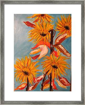 Sunflowers At Harvest Framed Print