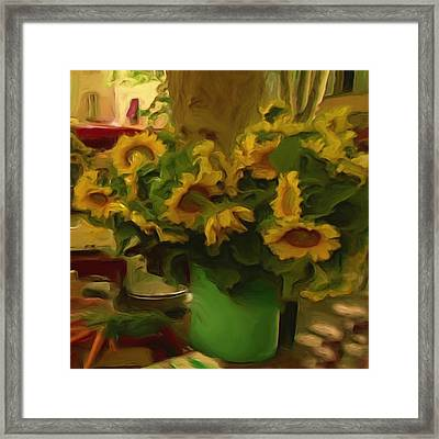 Framed Print featuring the painting Sunflowers At The Market by Shelley Bain