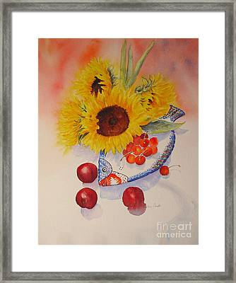 Framed Print featuring the painting Sunflowers by Beatrice Cloake