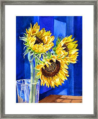 Sunflowers Blues  Framed Print