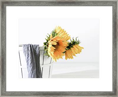 Framed Print featuring the photograph Sunflowers In A Basket by Kim Hojnacki