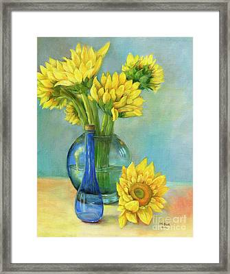 Sunflowers In A Glass Vase Number Two Framed Print