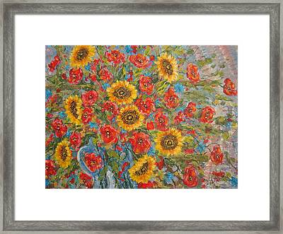 Sunflowers In Blue Pitcher. Framed Print