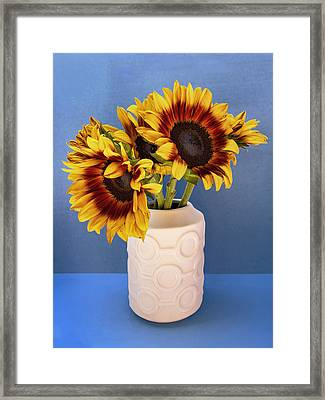 Sunflowers In Circle Vase Tournesols Framed Print by William Dey
