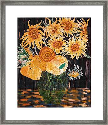 Sunflowers In Clear Vase Framed Print by Brenda Adams
