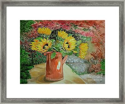 Sunflowers In Copper Framed Print