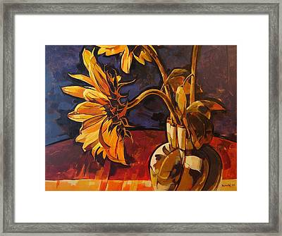 Sunflowers In Italian Vase Take Two Framed Print by Tim  Heimdal
