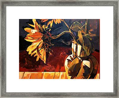Sunflowers In Italian Vase Framed Print by Tim  Heimdal