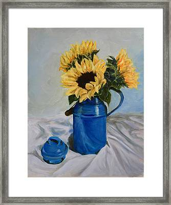Sunflowers In Milkcan Framed Print