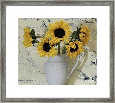 Sunflowers In The Country Framed Print by Marsha Heiken
