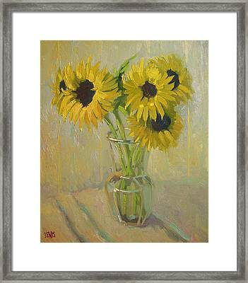 Sunflowers In The Studio Framed Print by Robert Lewis