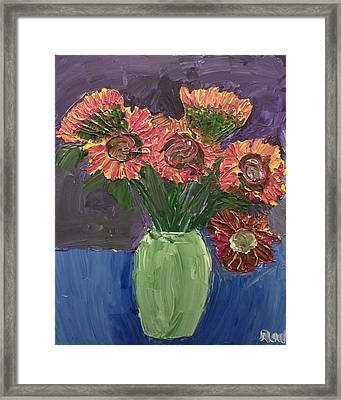Sunflowers In Vase Framed Print by Joshua Redman