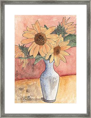 Sunflowers In Vase Sketch Framed Print by Ken Powers