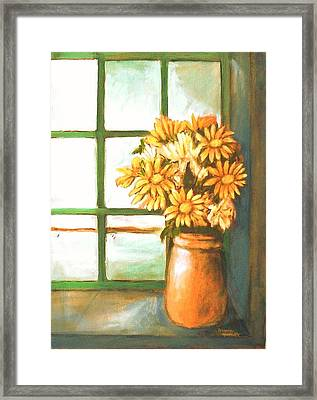 Framed Print featuring the painting Sunflowers In Window by Winsome Gunning
