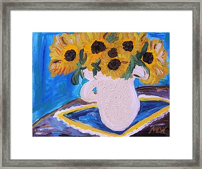 Sunflowers Ironstone And Lace Framed Print