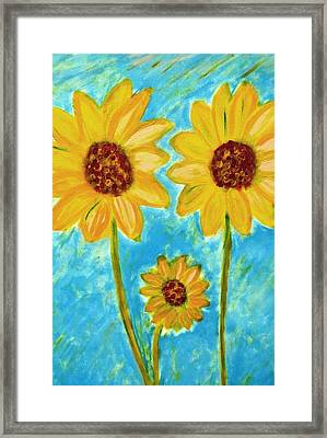 Framed Print featuring the painting Sunflowers by John Scates