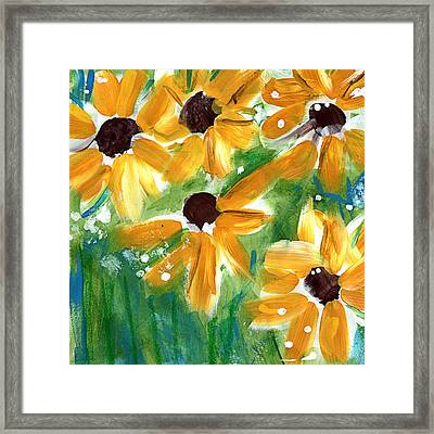 Sunflowers Framed Print by Linda Woods