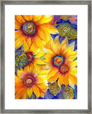 Sunflowers On Blue II Framed Print